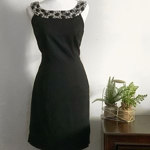dressbarn collections black gown. Beaded neckline